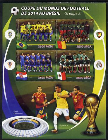 Madagascar 2014 Football World Cup in Brazil - Group A perf sheetlet containing 4 values unmounted mint