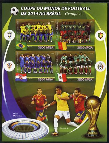 Madagascar 2014 Football World Cup in Brazil - Group A imperf sheetlet containing 4 values unmounted mint