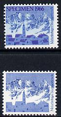 Switzerland 1966 Alpine Scene, machine trial proofs in blue only and blue & purple, latter opt'd Specimen unmounted mint