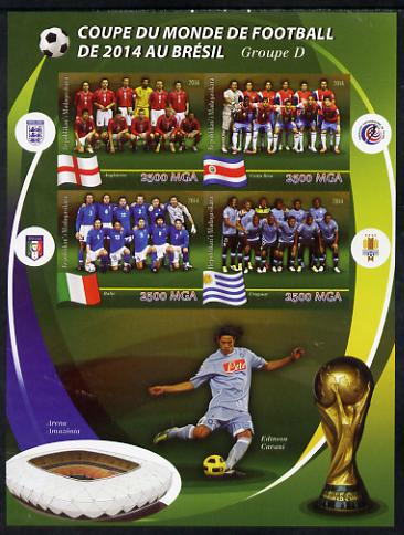 Madagascar 2014 Football World Cup in Brazil - Group D imperf sheetlet containing 4 values unmounted mint
