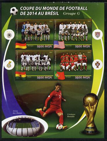 Madagascar 2014 Football World Cup in Brazil - Group G perf sheetlet containing 4 values unmounted mint