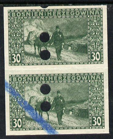 Bosnia & Herzegovina 1906 Postman & Beast of Burden 30h green imperf proof pair each with punch holes and blue crayon, as SG 194 (some winkles)