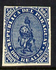 Paraguay 1870 2r light blue (Lion) imperf reprint on gummed paper mounted mint, as SG 3
