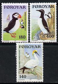 Faroe Islands 1978 Sea Birds (Puffin, Gannet & Guillemot) set of 3 unmounted mint, SG 35-37 (MI 36-38)
