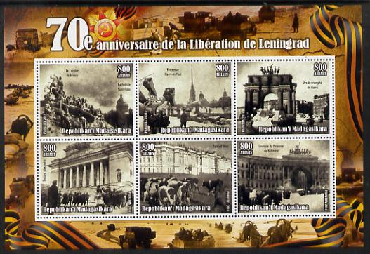 Madagascar 2014 70th Anniversary of Liberation of Leningrad #3 perf sheetlet containing 6 values unmounted mint