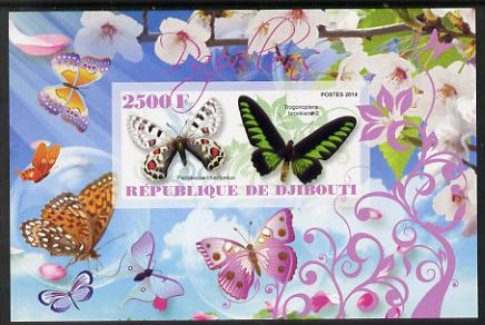 Djibouti 2014 Butterflies #3 imperf souvenir sheet unmounted mint