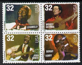 United States 1998 Folk Musicians se-tenant block of 4 unmounted mint, SG 3444a