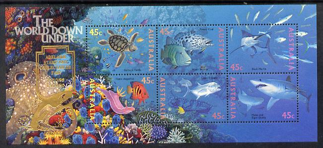 Australia 1995 Marine Life perf m/sheet overprinted for Adelaide Stamp Fair unmounted mint, as SG MS 1562, stamps on stamp exhibitions, stamps on marine life, stamps on turtles, stamps on reptiles, stamps on sharks, stamps on fish, stamps on coral, stamps on octopus