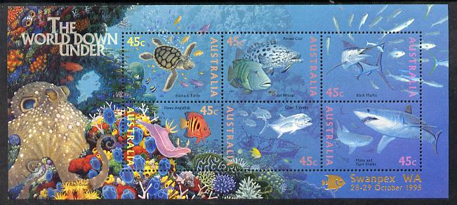 Australia 1995 Marine Life perf m/sheet overprinted for Swanpex WA unmounted mint, as SG MS 1562, stamps on stamp exhibitions, stamps on marine life, stamps on turtles, stamps on reptiles, stamps on sharks, stamps on fish, stamps on coral, stamps on octopus