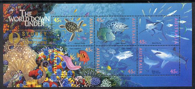 Australia 1995 Marine Life perf m/sheet overprinted for Sydney Stamp Show unmounted mint, as SG MS 1562, stamps on stamp exhibitions, stamps on marine life, stamps on turtles, stamps on reptiles, stamps on sharks, stamps on fish, stamps on coral, stamps on octopus