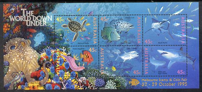 Australia 1995 Marine Life perf m/sheet overprinted for Melbourne Stamp & Coin Fair unmounted mint, as SG MS 1562