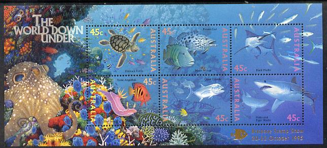 Australia 1995 Marine Life perf m/sheet overprinted for Brisbane Stamp Show unmounted mint, as SG MS 1562, stamps on stamp exhibitions, stamps on marine life, stamps on turtles, stamps on reptiles, stamps on sharks, stamps on fish, stamps on coral, stamps on octopus