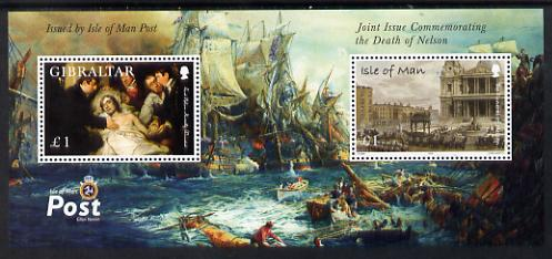 Isle of Man & Gibraltar 2005 Joint Issue - Death Bicentenary of Admiral Lord nelson perf m/sheet unmounted mint SG MS1264
