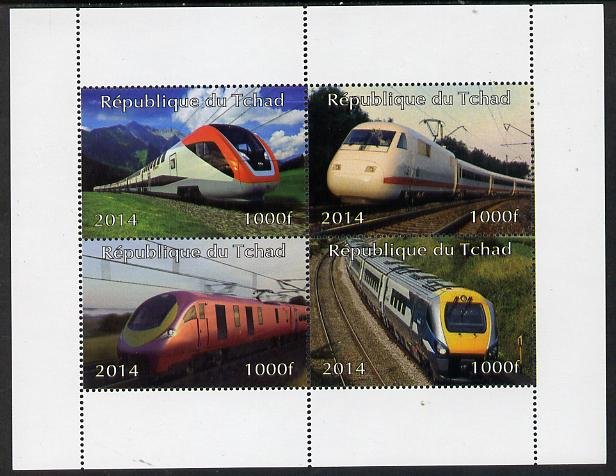 Chad 2014 High Speed Trains perf sheetlet containing 4 values unmounted mint. Note this item is privately produced and is offered purely on its thematic appeal.