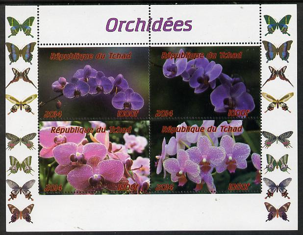 Chad 2014 Orchids #1 (with Butterflies in side margins) perf sheetlet containing 4 values unmounted mint. Note this item is privately produced and is offered purely on its thematic appeal.