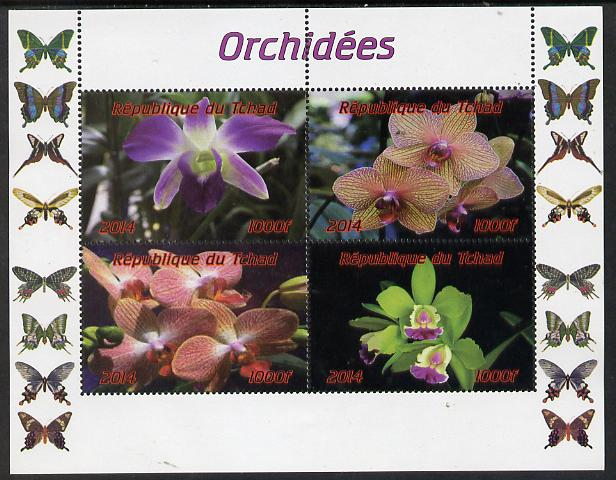 Chad 2014 Orchids #2 (with Butterflies in side margins) perf sheetlet containing 4 values unmounted mint. Note this item is privately produced and is offered purely on its thematic appeal.