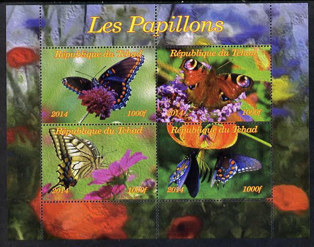 Chad 2014 Butterflies #1 perf sheetlet containing 4 values unmounted mint. Note this item is privately produced and is offered purely on its thematic appeal.
