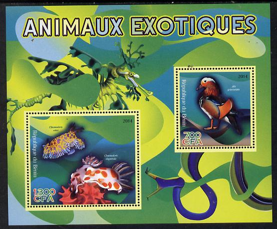 Benin 2014 Exotic Animals - Duck & Sea Slug perf sheetlet containing 2 values unmounted mint