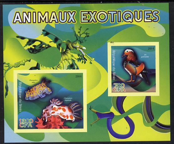 Benin 2014 Exotic Animals - Duck & Sea Slug imperf sheetlet containing 2 values unmounted mint
