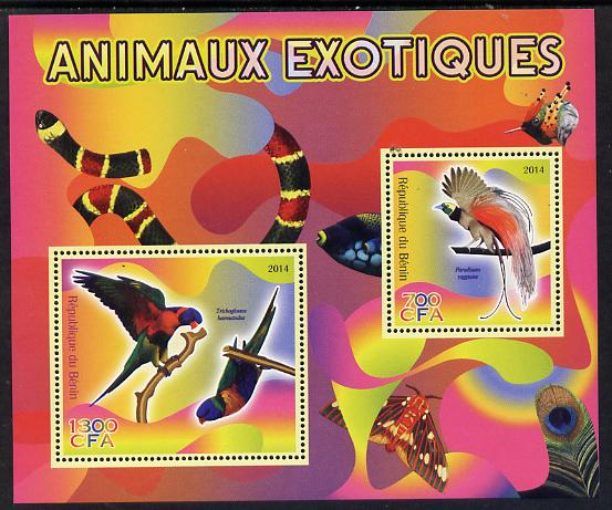 Benin 2014 Exotic Animals - Bird of Paradise & Lorikeet perf sheetlet containing 2 values unmounted mint