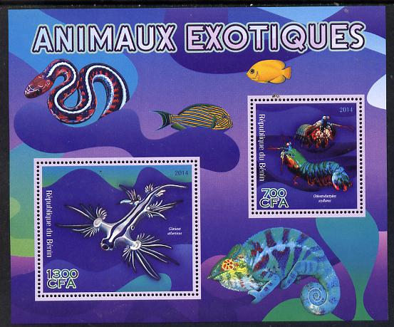 Benin 2014 Exotic Animals - Mantis Shrimp & Sea Slug perf sheetlet containing 2 values unmounted mint