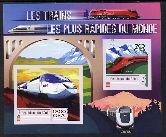 Benin 2014 High Speed Trains imperf sheetlet containing 2 values unmounted mint