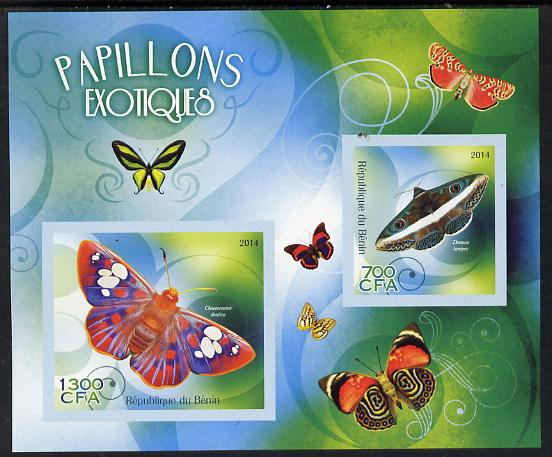 Benin 2014 Exotic Butterflies imperf sheetlet containing 2 values unmounted mint