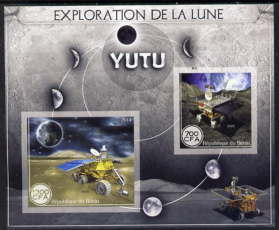 Benin 2014 Exploration of the Moon - Yutu imperf sheetlet containing 2 values unmounted mint