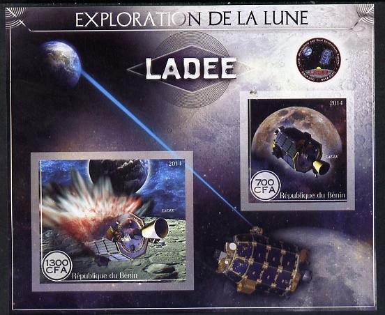 Benin 2014 Exploration of the Moon - Ladee imperf sheetlet containing 2 values unmounted mint