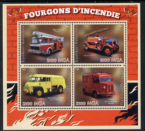 Madagascar 2014 Fire Trucks perf sheetlet containing 4 values unmounted mint