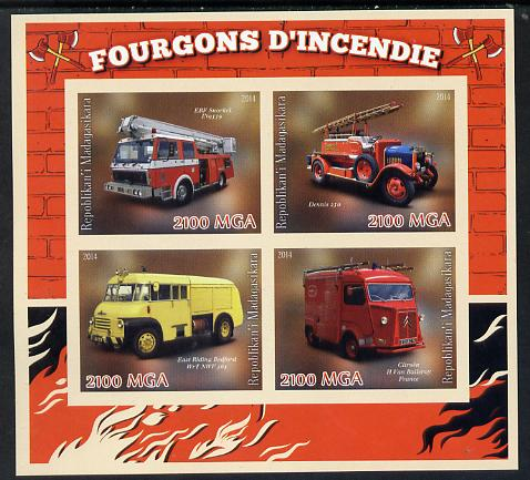 Madagascar 2014 Fire Trucks imperf sheetlet containing 4 values unmounted mint