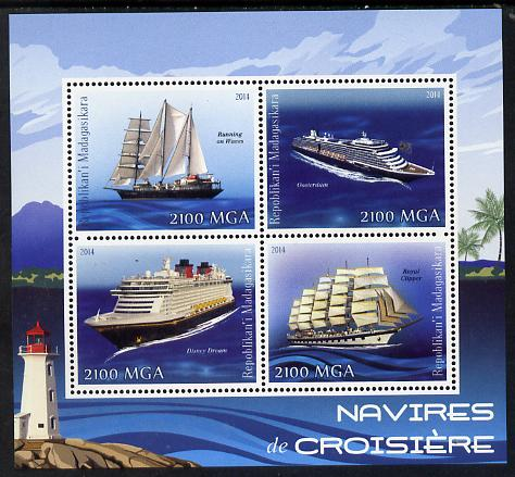 Madagascar 2014 Cruise Ships perf sheetlet containing 4 values unmounted mint