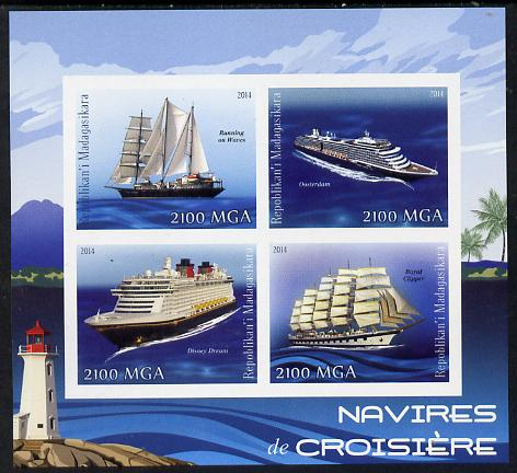 Madagascar 2014 Cruise Ships imperf sheetlet containing 4 values unmounted mint