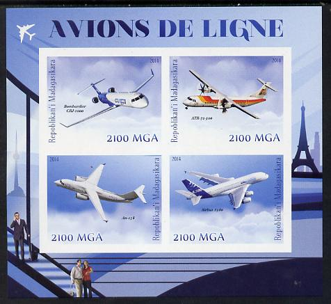 Madagascar 2014 Airliners imperf sheetlet containing 4 values unmounted mint
