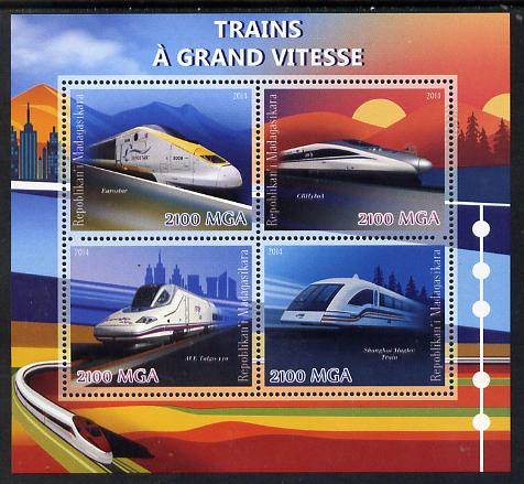 Madagascar 2014 High Speed Trains perf sheetlet containing 4 values unmounted mint