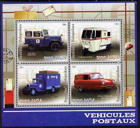 Madagascar 2014 Postal Vehicles perf sheetlet containing 4 values unmounted mint