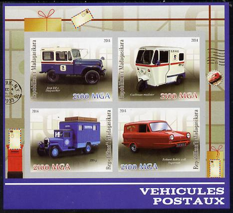 Madagascar 2014 Postal Vehicles imperf sheetlet containing 4 values unmounted mint