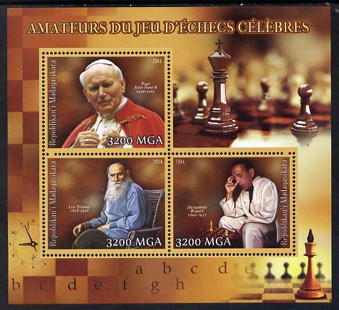 Madagascar 2014 Celebrity Chess Players #2 perf sheetlet containing 3 values unmounted mint