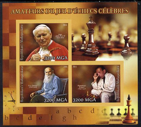 Madagascar 2014 Celebrity Chess Players #2 imperf sheetlet containing 3 values unmounted mint
