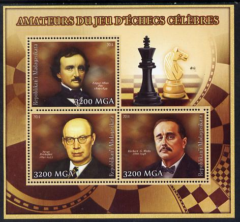 Madagascar 2014 Celebrity Chess Players #3 perf sheetlet containing 3 values unmounted mint