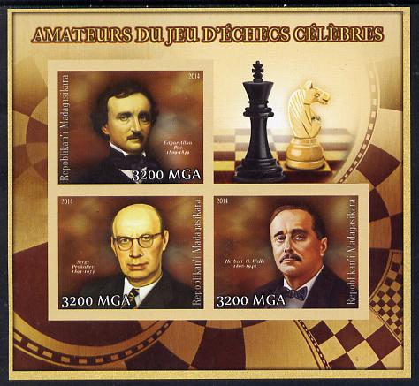 Madagascar 2014 Celebrity Chess Players #3 imperf sheetlet containing 3 values unmounted mint