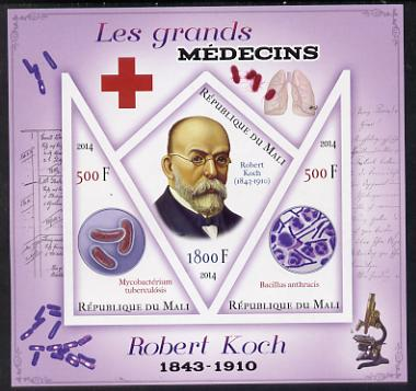 Mali 2014 Great Men of Medicine - Robert Koch imperf sheetlet containing 3 values - one diamond shaped & two triangular values unmounted mint