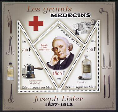 Mali 2014 Great Men of Medicine - Joseph Lister perf sheetlet containing 3 values - one diamond shaped & two triangular values unmounted mint