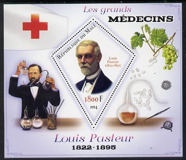 Mali 2014 Great Men of Medicine - Louis Pasteur perf s/sheet containing one diamond shaped value unmounted mint