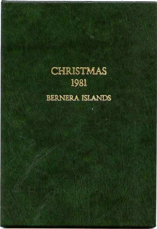 Bernera 1981 Christmas set of two \A38 values each in 22 carat gold foil in special presentation folder unmounted mint