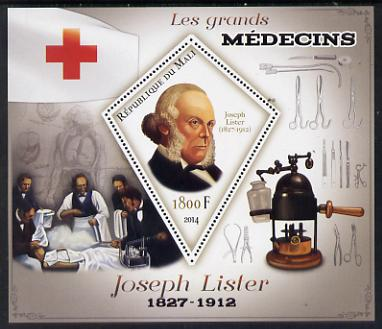 Mali 2014 Great Men of Medicine - Joseph Lister perf s/sheet containing one diamond shaped value unmounted mint