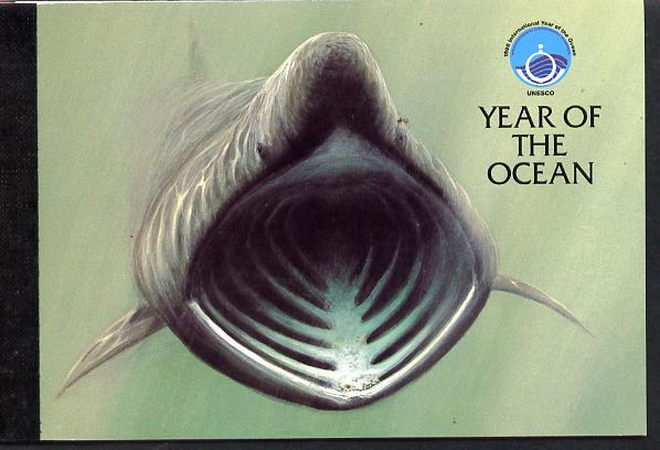 Booklet - Isle of Man 1998 UNESCO Year of the Ocean �3.62 Prestige booklet complete & fine SG SB48, stamps on oceans, stamps on marine life, stamps on unesco, stamps on united nations, stamps on sharks