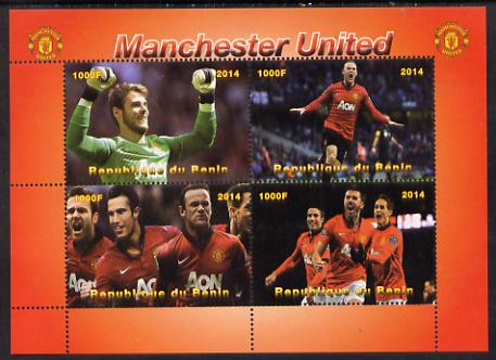 Benin 2014 Manchester United perf sheetlet containing 4 values unmounted mint. Note this item is privately produced and is offered purely on its thematic appeal