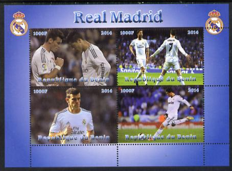 Benin 2014 Real Madrid perf sheetlet containing 4 values unmounted mint. Note this item is privately produced and is offered purely on its thematic appeal