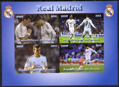 Benin 2014 Real Madrid imperf sheetlet containing 4 values unmounted mint. Note this item is privately produced and is offered purely on its thematic appeal